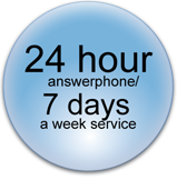 24 hour answerphone/ 7 days a week service